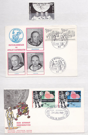1969 Apollo 11 Apollo Space Missions Armstrong - Aldrin - Collins Apollo 11 Belgium Space Stamps First Man On The Moon Geman Space Stamps Western Samoa Space Stamps Currency Day Moon Landing No People Paper Currency Photograph
