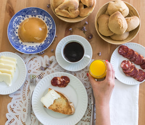 Coffee Bread Breakfast Close-up Coffee - Drink Coffee Cup Day Drink Egg Yolk Food Food And Drink Freshness Healthy Eating High Angle View Holding Human Body Part Human Hand Indoors  One Person Orange Juice  Plate Ready-to-eat Real People Refreshment Sweet Food Table