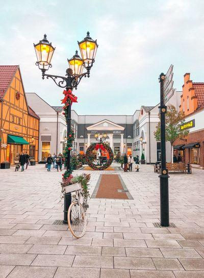 Street Light On City Street During Christmas
