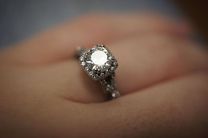 Close-Up Of Human Hand Wearing Diamond Ring