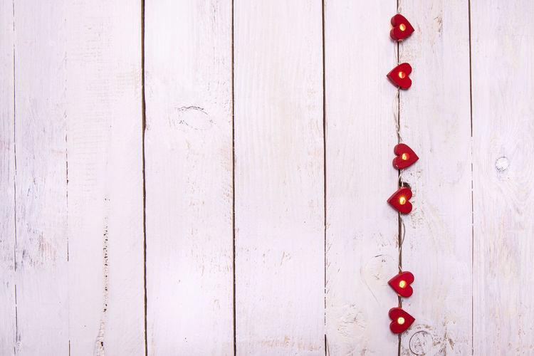 Heart shape on wooden wall