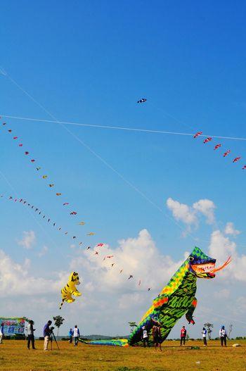People flying against sky