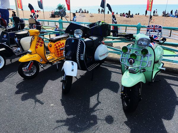 Vespas Parked up at Brighton Mod Weekender 2018 The Mods Brighton Mods Scooters Mod Weekender Vespa Scooter Scooters Group Of People City Transportation Day Real People Street High Angle View