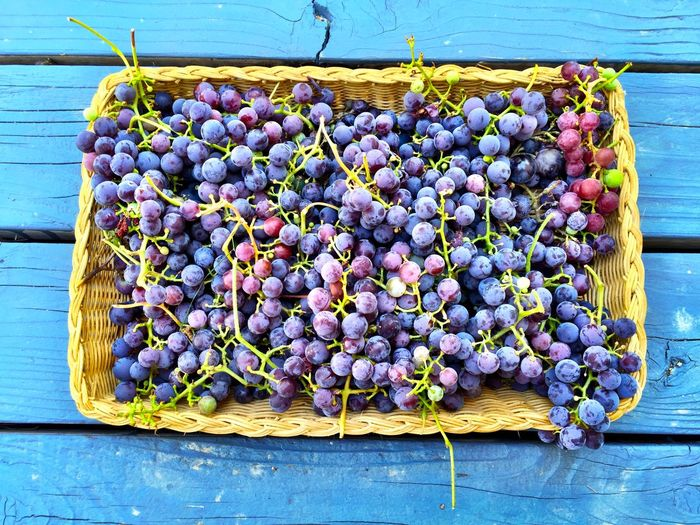 High Angle View Of Grapes In Wicker Basket