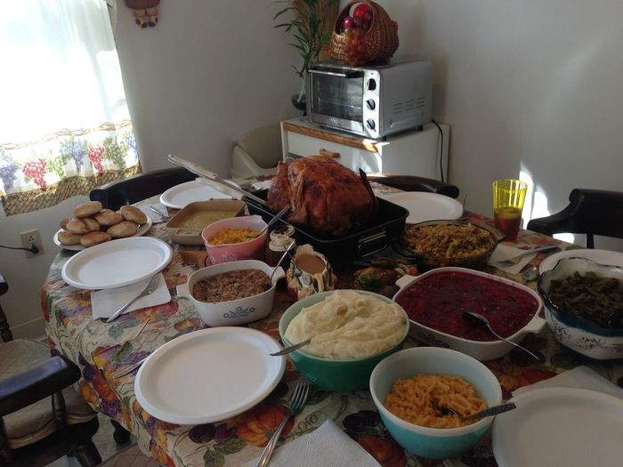 Biscuits Breakfast Celebration Day Domestic Life Family Time Food Freshness Home Interior Indoors  Mashed Potatoes No People Paper Plate Southern Cooking Sweet Food Table Thanksgiving Thanksgiving Day Traditional Am Turkey