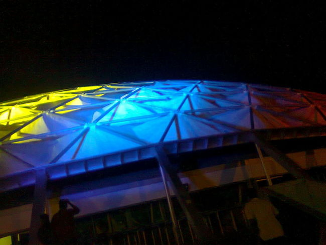 Architecture Arts Culture And Entertainment Blue Close-up Illuminated Low Angle View Multi Colored Night No People Outdoors Polyhedron The Architect - 2017 EyeEm Awards