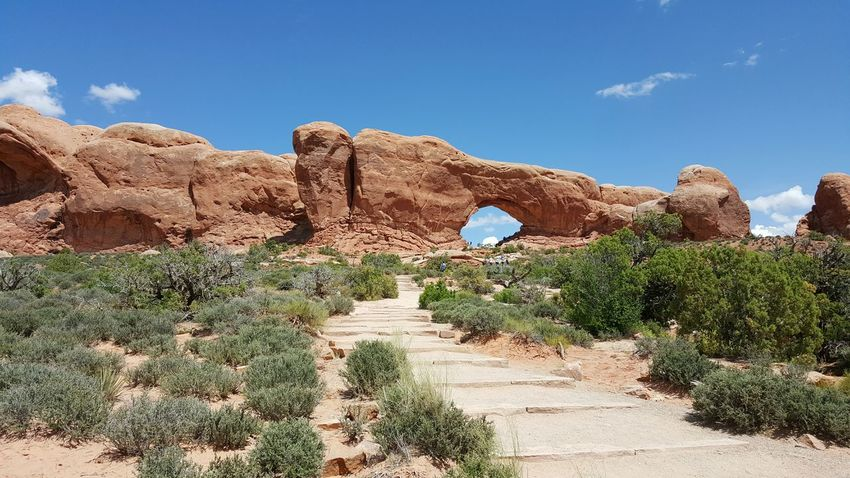 Stairs to the Arch Trail Hiking Path Desert Arid Landscape American Southwest Arches National Park Utah