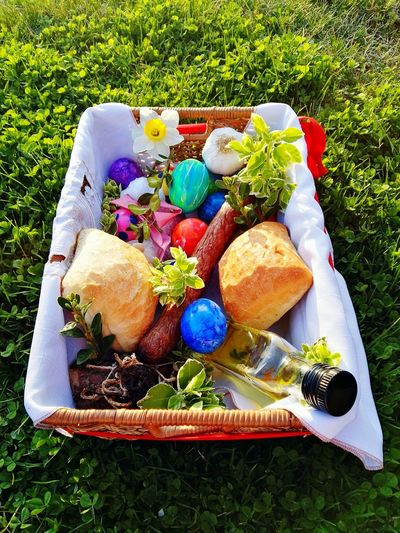 Traditional Easter food basked Multi Colored Grass No People Variation Close-up Outdoors Day Easter Easter Ready Easter Traditions Easter Basket  Easter Eggs Easter Food