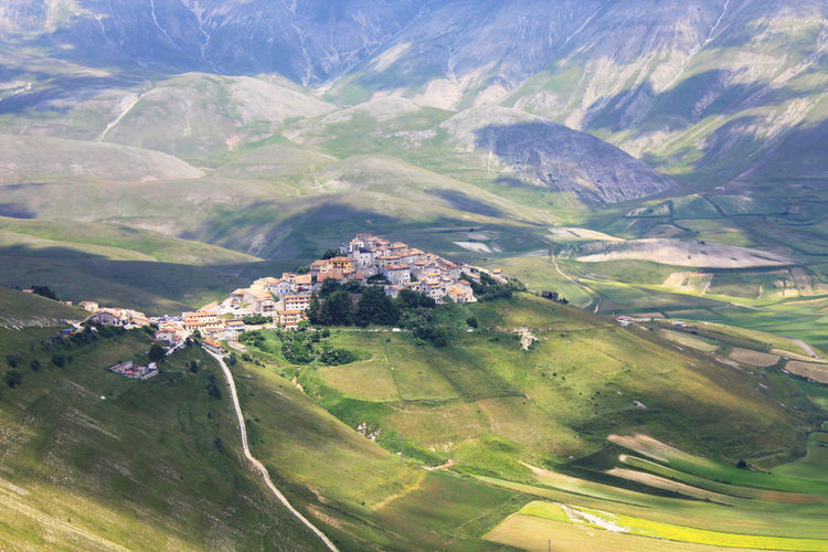 Agriculture Beauty Castelluccio Di Norcia Field Idyllic Italy Landscape Mountain Norcia Patchwork Fields Rural Scene Scenics Shadows & Lights Valley Village