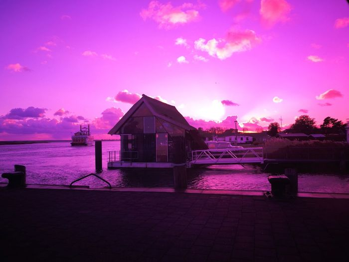 Purple Water Built Structure No People Outdoors Sea Sky Sunset Architecture Building Exterior Scenics Beauty In Nature Violet Sky  Violet Colour Violetsky Purple Sky Purplesky Zingst, Germany DarßZingst Zingst Darß