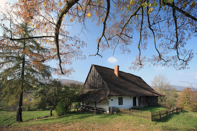 Agriculture Architecture Beauty In Nature Beskid Niski Beskidy Branch Chyza Chyza Farm Field Folklore Freshness Grass House Hut Mountain Nature Non-urban Scene Outdoors Poland Rural Scene Sky Tranquility Tree Wooden House