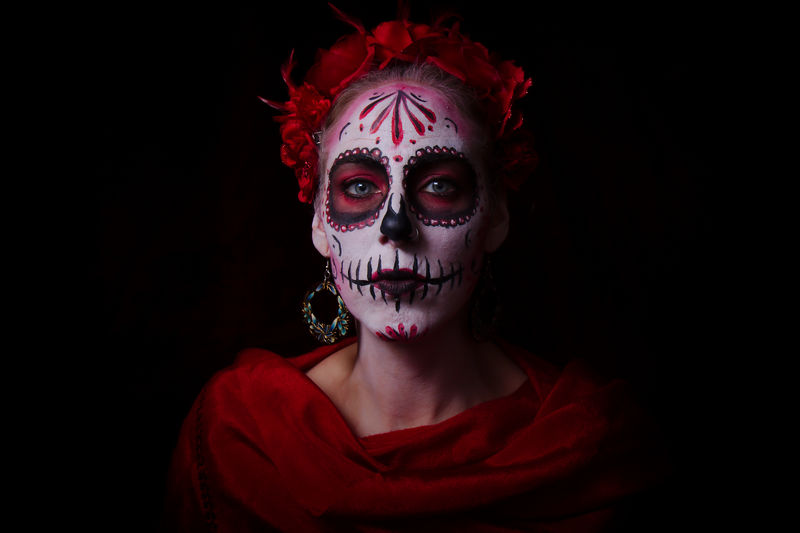 Portrait Of Woman With Spooky Halloween Make-Up Against Black Background