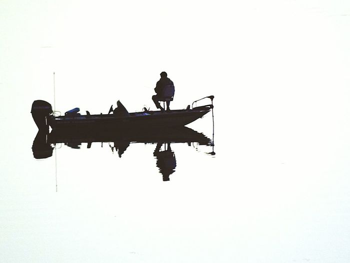 Water Reflections Fishing Boat Fisherman Early Morning Fishing