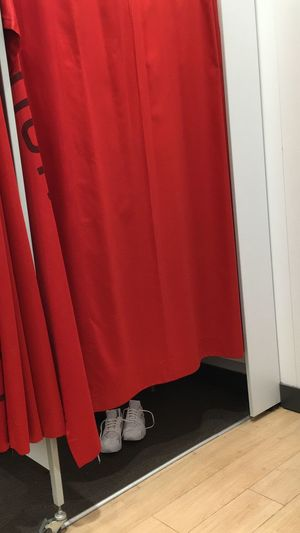 Shopping Spree at the mall... Curtain Red Indoors  Cabin Changing Room Umkleidekabine Curtains Shopping Mall Red Color Shoes White Red Colour White Shoes Front View View Angle Photography Different Perspective Personal Perspective Shadow Shadows Fitting Room Fitting Different Schuhe