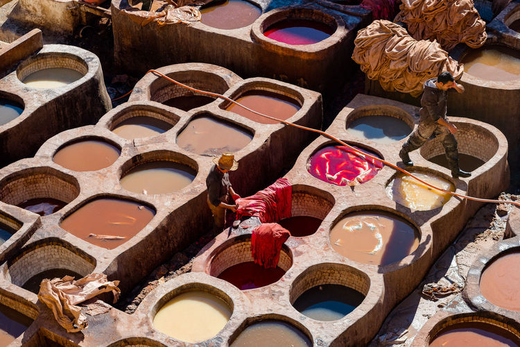Fes Fez Morocco Medina Moroccan Craftsmanship Morocco Old Town Traditional Craft Travel Colour Craft Craftsmanship  Dye Fez High Angle View Medina De Fez Moroccan Craft Old Old City Old Tannery Tannery Traditional Craft Traditional Craftsmanship Travel Destinations