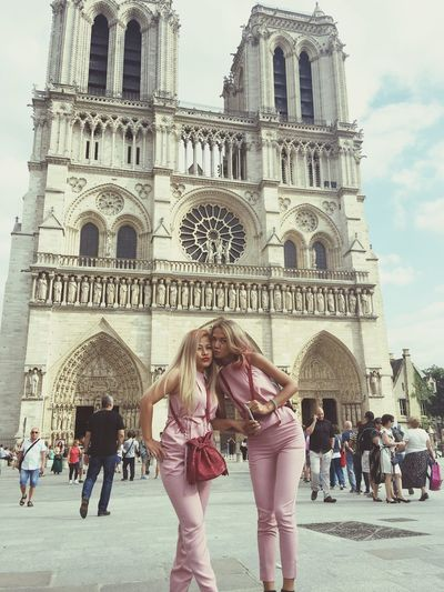 In the beautiful place with beautiful friend Notre Dame De Paris Architecture Church Religion Place Of Worship Famous Place In Front Of Culture Arch Tourism Standing Travel Destinations Built Structure Building Exterior Large Group Of People French France 🇫🇷