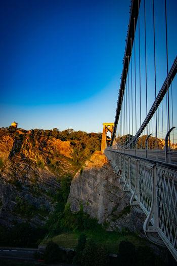 Bridge against clear blue sky