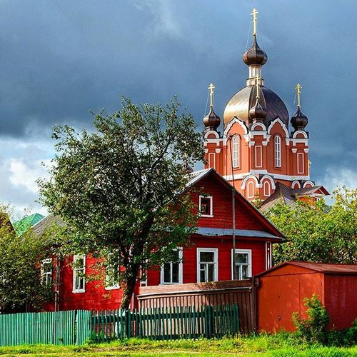 Tihvin Russia Cloudy Day landscape cityscape summer holidays monastery sky garden house cloud grass grey green bestofrussia