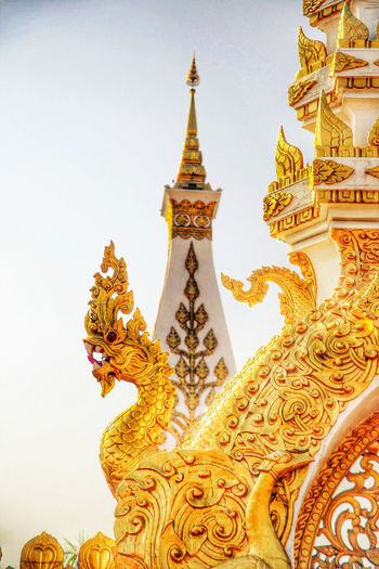 Light Thailand Art And Craft Belief Building Exterior Built Structure Gold Colored Nakornphanom Place Of Worship