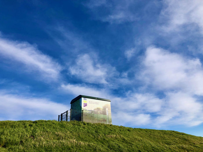 Low angle view of house on field against sky