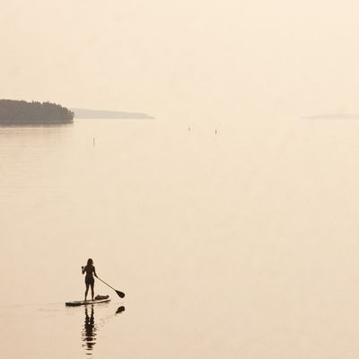 My wife, paddling in PrincesInlet , early morning. VisitNovaScotia Igersottawa Sup