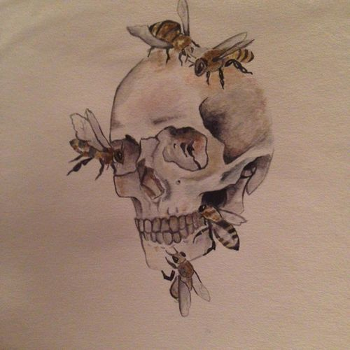Skull Drawing Draw Sketch Bee Watercolor Crane