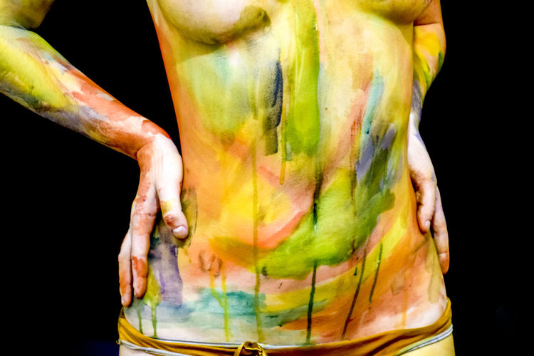 Body art. Drawing on the body. Beautiful girl with painted body watercolors. A white young girl painted the body with paint. Nude-Art Paint Art, Beautiful, Beauty, Black, Body, Cosmetics, Fashion, Female, Girl, Human, Makeup, Watercolor, Body Art, Belly, Priest, Pelvis, Chest, Tits, Hands, Torso, Legs, Hips, Stains, Painted, Paint, Colorful, Young, White, Panties, Sexy, Decor, Glamour, Shiny, Black Background Bodyart Close-up Colorful Day Freshness Girl Multi Colored Nude_model One Person Outdoors Painting People Real People Studio Shot Titsshot Women