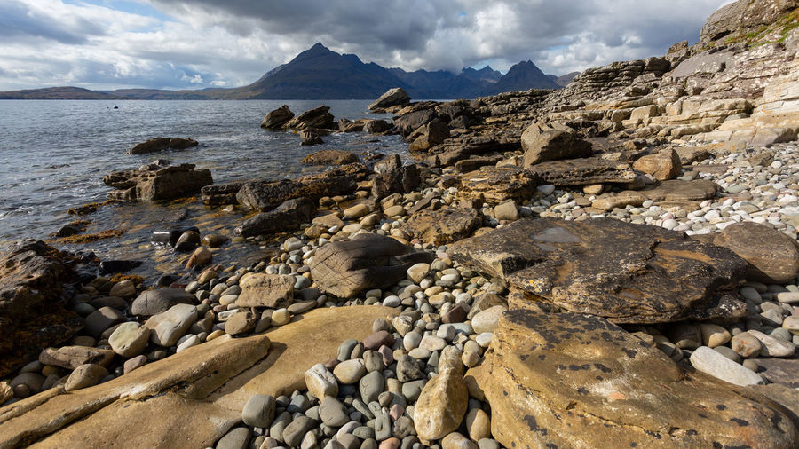 Scenic view of rocks and sea against sky