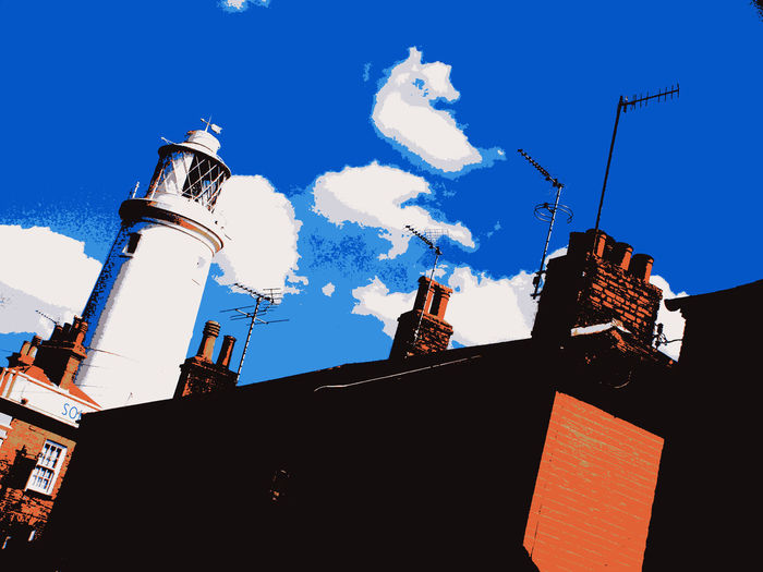 Light the way Lighthouse Skyline Abstract Architecture Chimney Pots Clouds Low Angle View Seaside Town Sky Southwold
