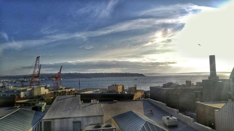 End of the work day scenic break. Seattle Puget Sound, Washington Snapseed