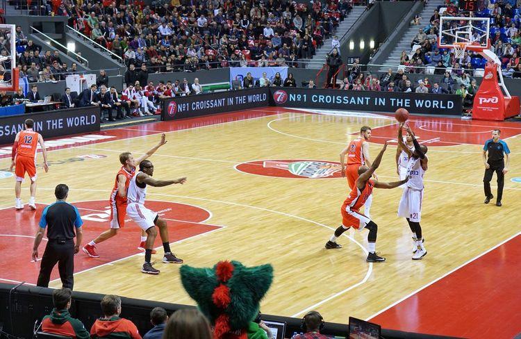 High Angle View Large Group Of People Professional Sport Watching Match - Sport Basketball, Eurocup  Lokomotiv-kuban