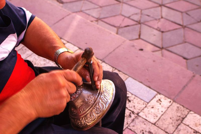 Working Working Hands Handmade Copper Art Hands Traditional Culture Copper  Art Is Everywhere