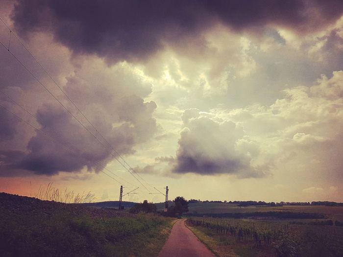 Rural Scene Storm Cloud Sunset Thunderstorm Agriculture Sky Landscape Cloud - Sky Storm