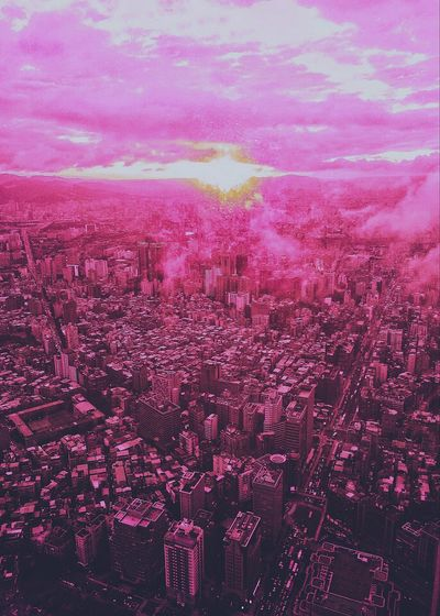 Pink Aerial View From Above Vaporwave Aesthetics Details Repetition Patterns Lava Blazing Sunset Sky Urban Architecture Evolution  Bustling City Street Life Travel Illuminated Skyscrapers Cityscapes EyeEmNewHere HikeNhype Mix Yourself A Good Time The Week On EyeEm Lost In The Landscape Connected By Travel Perspectives On Nature Visual Creativity