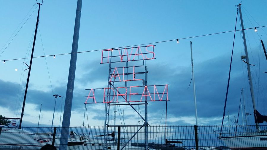 It Was All A Dream NOSALIVE Portugal Nosalive17 Sky Clouds Metal Technology Cable Barbed Wire Electricity  Steel No People Day Cloud - Sky Outdoors Electricity Pylon Red Letters Lisbon Business Finance And Industry Boats Close-up Taking Photos The Graphic City Love Yourself