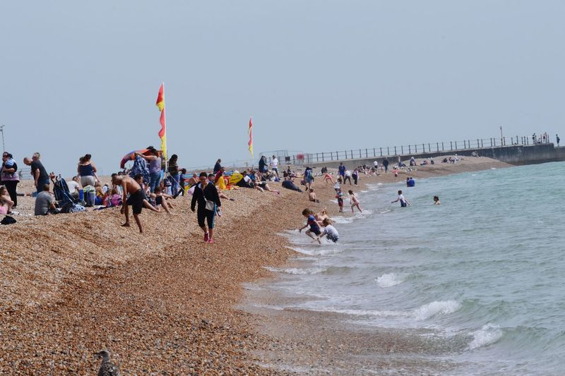 Beach Large Group Of People Sand Sea Sky Vacations Outdoors People Flying Day Crowd Nature Leisure Time Summertime Fun beach Hastings Sussex