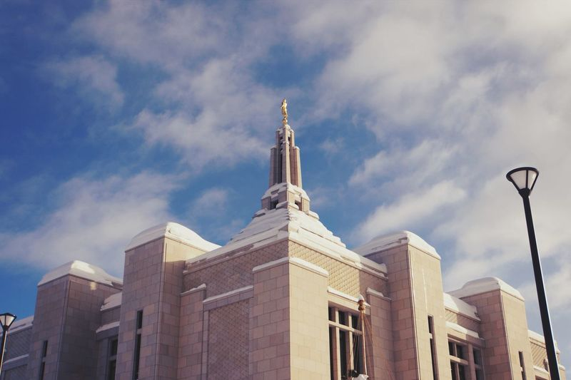 Sky Architecture Building Exterior Built Structure Low Angle View Cloud - Sky Religion Place Of Worship Religious Architecture Cold Temperature Lds Temples Temple