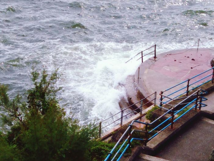 Railing Water High Angle View Day Sea Outdoors No People Motion Power In Nature Nature Force