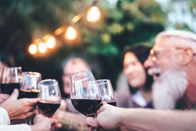People toasting wineglasses during party