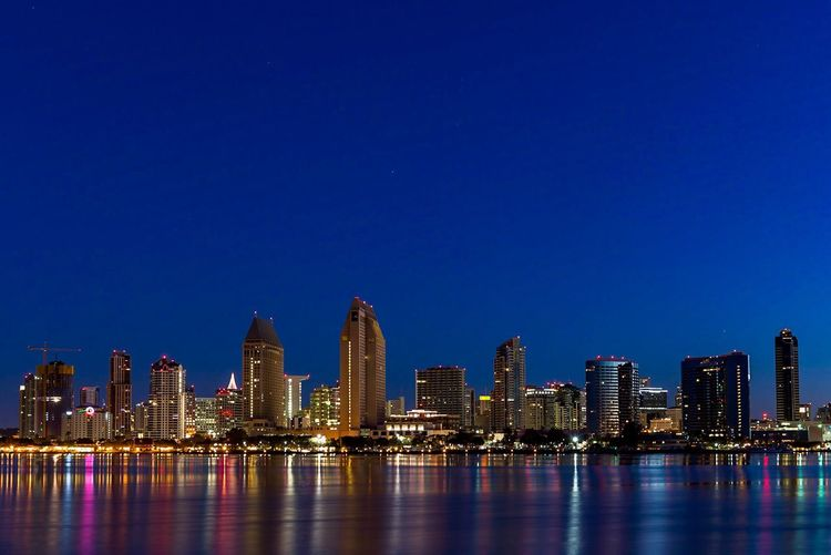 Downtown San Diego California Dreamin Architecture Skyscraper Building Exterior Built Structure Blue Urban Skyline Cityscape City Travel Destinations Night Illuminated Modern No People Water Outdoors Sky Clear Sky San Diego Dawn Blue Hour Sunrise Sunrise_Collection Lost In The Landscape