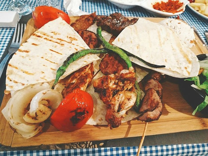 High angle view food on cutting board