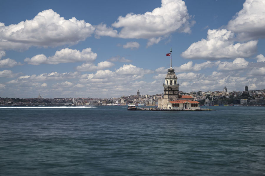 Blue Clouds And Sky Istanbul Kiz Kulesi Landscape Landscapes Maiden Tower Maidentower Sea Tower