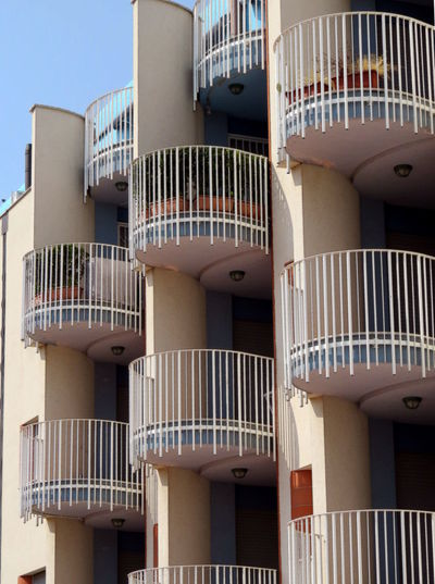 Architecture Modern House Balconies Building Building Exterior No People Outdoors Pillars Railings Round Shapes Vertical Lines