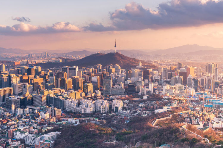 Seoul City South Korea City Cityscape Korea Namsan Tower  Seoul Seoul Tower Seoul, Korea South Korea Travel Building Cityscape Gangnam High Angle View Mountain Seoul City Seoul_korea Sunset