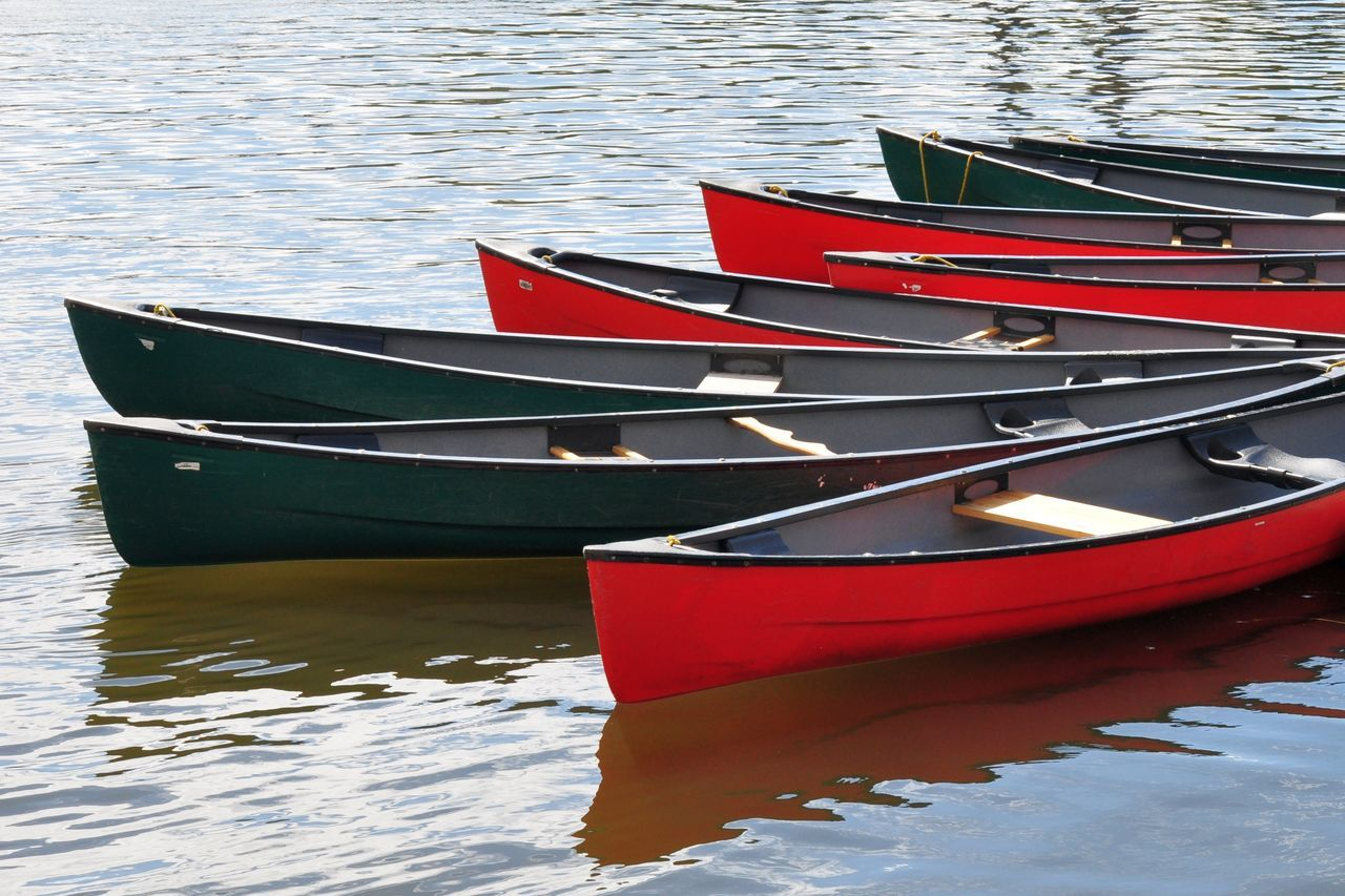 High Angle View Of Rowboats In Lake