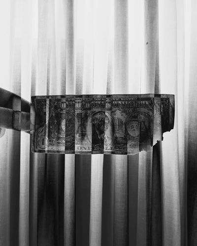 Curtain Text Close-up Human Hand Indoors  Day One Person People Double Exposure Money Dollar Burned Capitalism Poverty Depression