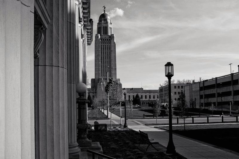 Visual Journal May 2018 Lincoln, Nebraska 35mm Camera A Day In The Life Camera Work EyeEm Best Shots FUJIFILM X100S Getty Images Government Building Lincoln, Nebraska MidWest Nebraska Photo Essay State Capitol Visual Journal Always Taking Photos Architectural Column Architecture Building Building Exterior Built Structure City Cloud - Sky Day Downtown District Eye For Photography Fujifilm Lighting Equipment Monochrome Nature No People Office Building Exterior On The Road Outdoors Photo Diary Religion Residential District S.ramos May 2018 Schwarzweiß Sky Skyscraper Snapseed Editing  Spirituality Street Street Light Travel Destinations