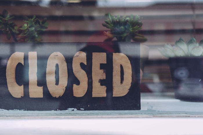 Capital Letter Celebration Close-up Closed Sign Communication Day Focus On Foreground Glass - Material Indoors  Message No People Number Plant Reflection Restaurant Window Text Western Script Wood - Material