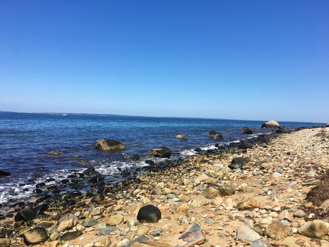 Rocks Sea Water Clear Sky Horizon Over Water Copy Space Nature Beach Rock - Object Blue Scenics Tranquility Beauty In Nature No People Pebble Day Tranquil Scene Outdoors Sky Groyne Pebble Beach The Week On Eyem Lost In The Landscape