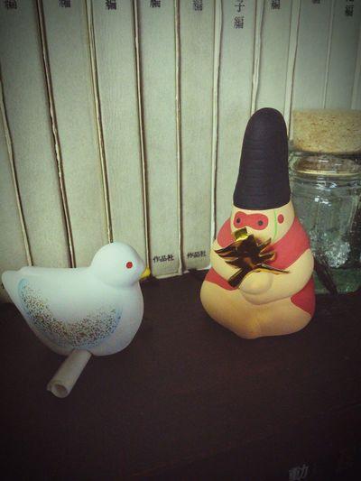 Pigeon Monkey Figurine  Bird サル ハト 置物 Animals 烏帽子 Japan
